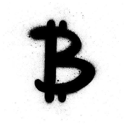 graffiti bitcoin symbol sprayed in black over white