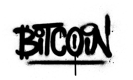 graffiti bitcoin word sprayed in black over white