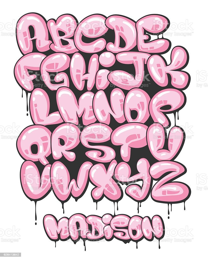 Graffiti bubble shaped alphabet set vector art illustration