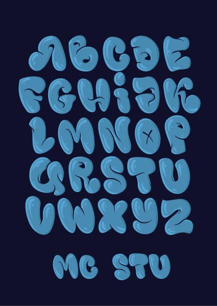 graffiti bubble style alphabet set in blue colours. - bubble fonts stock illustrations