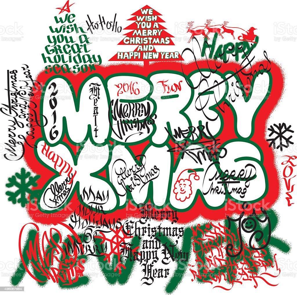 Graffiti-Weihnachtskarte – Vektorgrafik