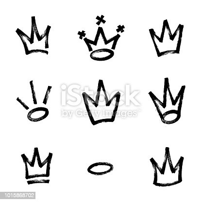 istock Graffiti crown set in black over white. Drawn by marker. Vector illustration. 1015868702