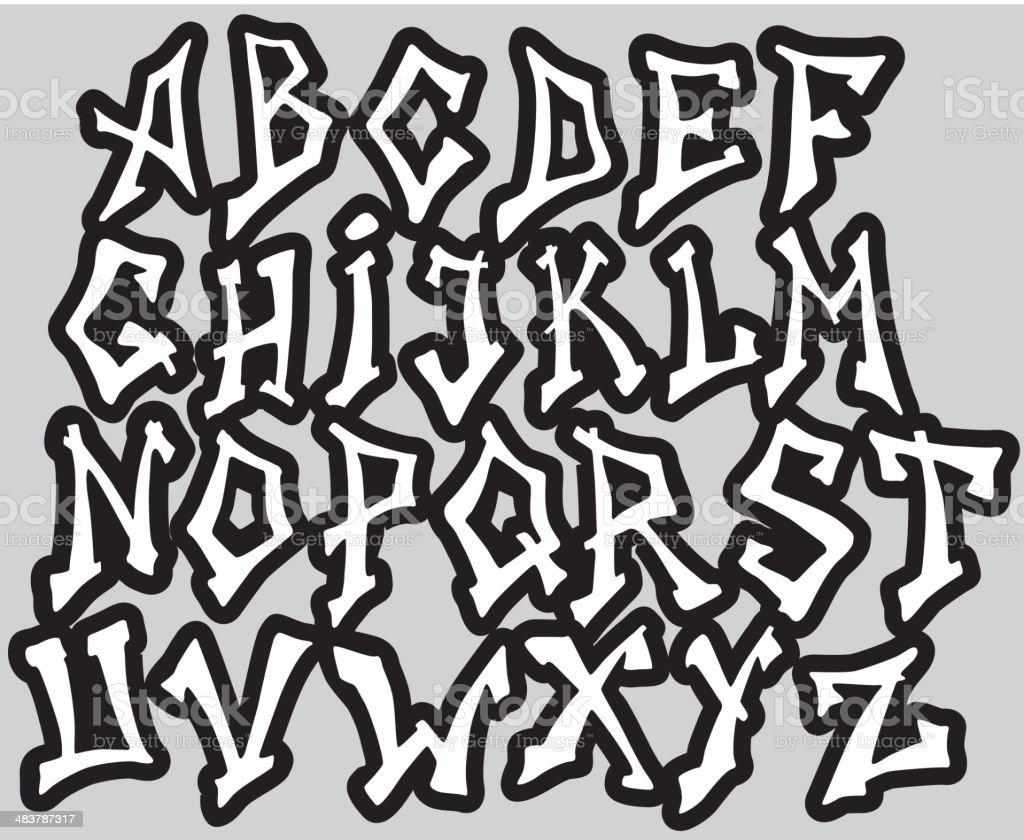 Super Graffiti Font Alphabet Different Letters Stock Vector Art & More  ZX67