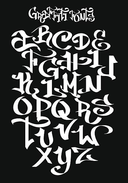 illustrations, cliparts, dessins animés et icônes de graffiti polices alphabet. illustration vectorielle - polices de caractère en graffiti