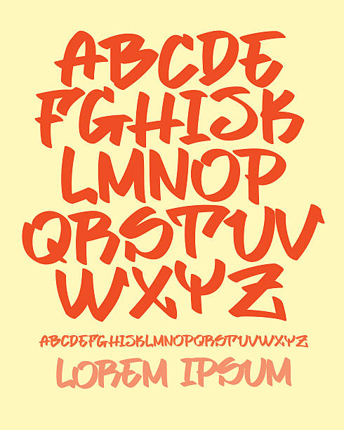graffiti font - hand written - vector alphabet - graffiti fonts stock illustrations, clip art, cartoons, & icons