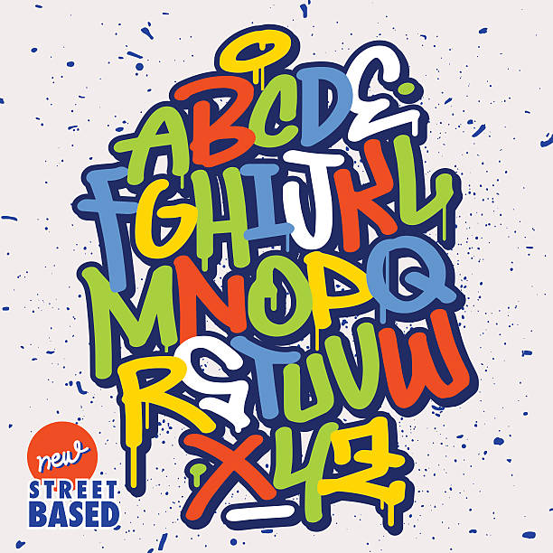 graffiti font - graffiti fonts stock illustrations, clip art, cartoons, & icons