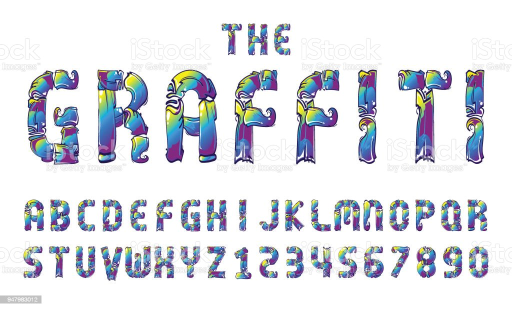 Graffiti Fonts Alphabet Letter Numbers Vector Illustration Royalty Free