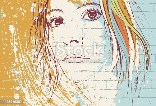 Vector illustration in graffiti style featuring a young woman portrait looking beyond with energetic brush strokes of paint.