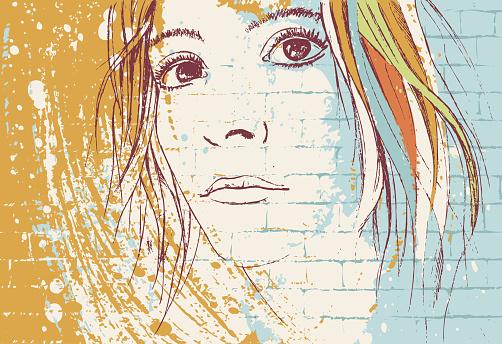 Graffiti girl portrait on a wall