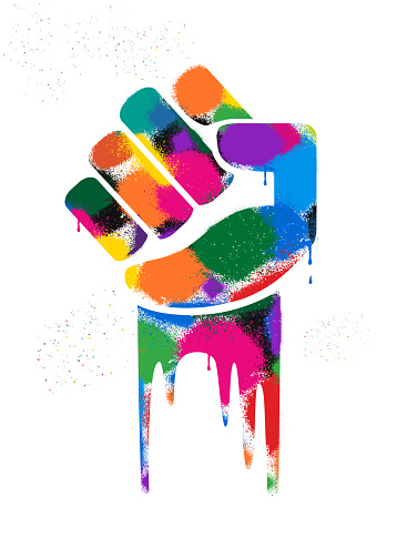 Graffiti Graphic of Clenched Fists
