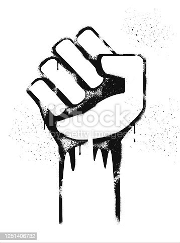 Graffiti Stencil image of Clenched Fists, Protest, Demonstration,