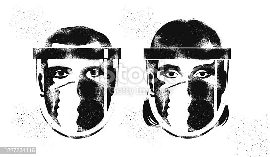 Graffiti Stencil image of Key workers or Medical professional wearing protective face masks against infection, PPE, coronavirus, supermarket staff