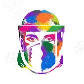 istock Graffiti Graphic of Key Worker wearing PPE 1227234184