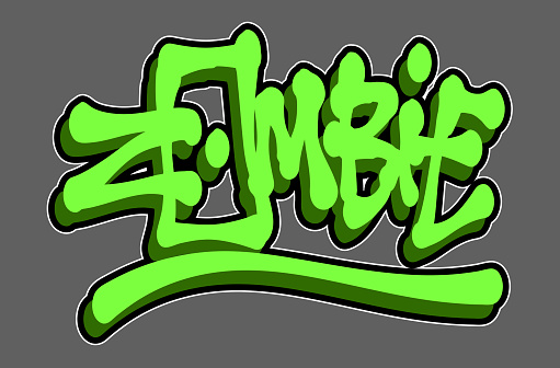 Graffiti green zombie word in graffiti style over gray