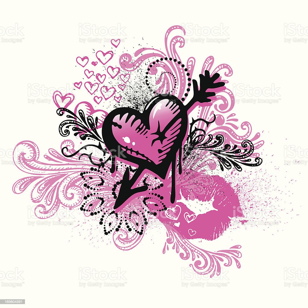 graffiti heart and lips stock vector art amp more images of