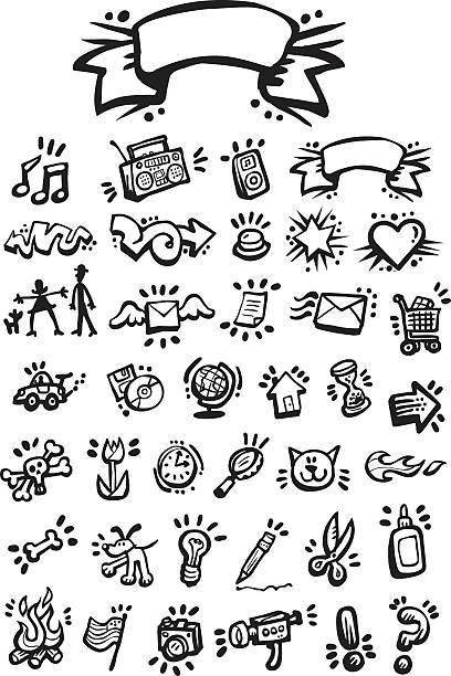 graffiti-icon-set - graffiti schriftarten stock-grafiken, -clipart, -cartoons und -symbole