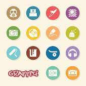 Graffiti Icons Color Circle Series Vector EPS10 File.