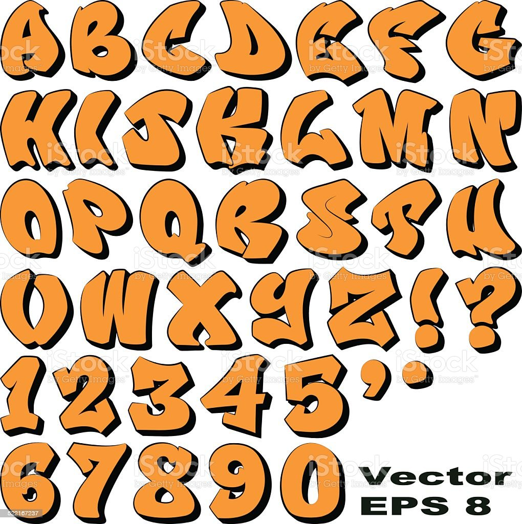 グラフィティ文字と番号 ベクターアートイラスト