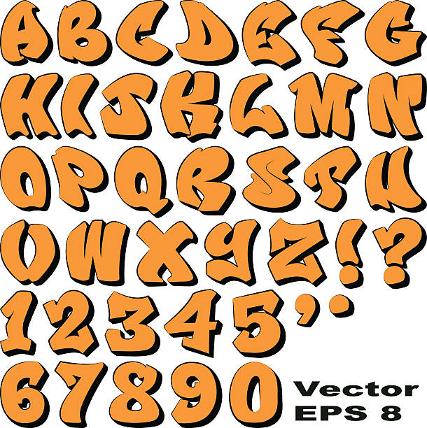 graffiti letters and numbers - graffiti fonts stock illustrations, clip art, cartoons, & icons