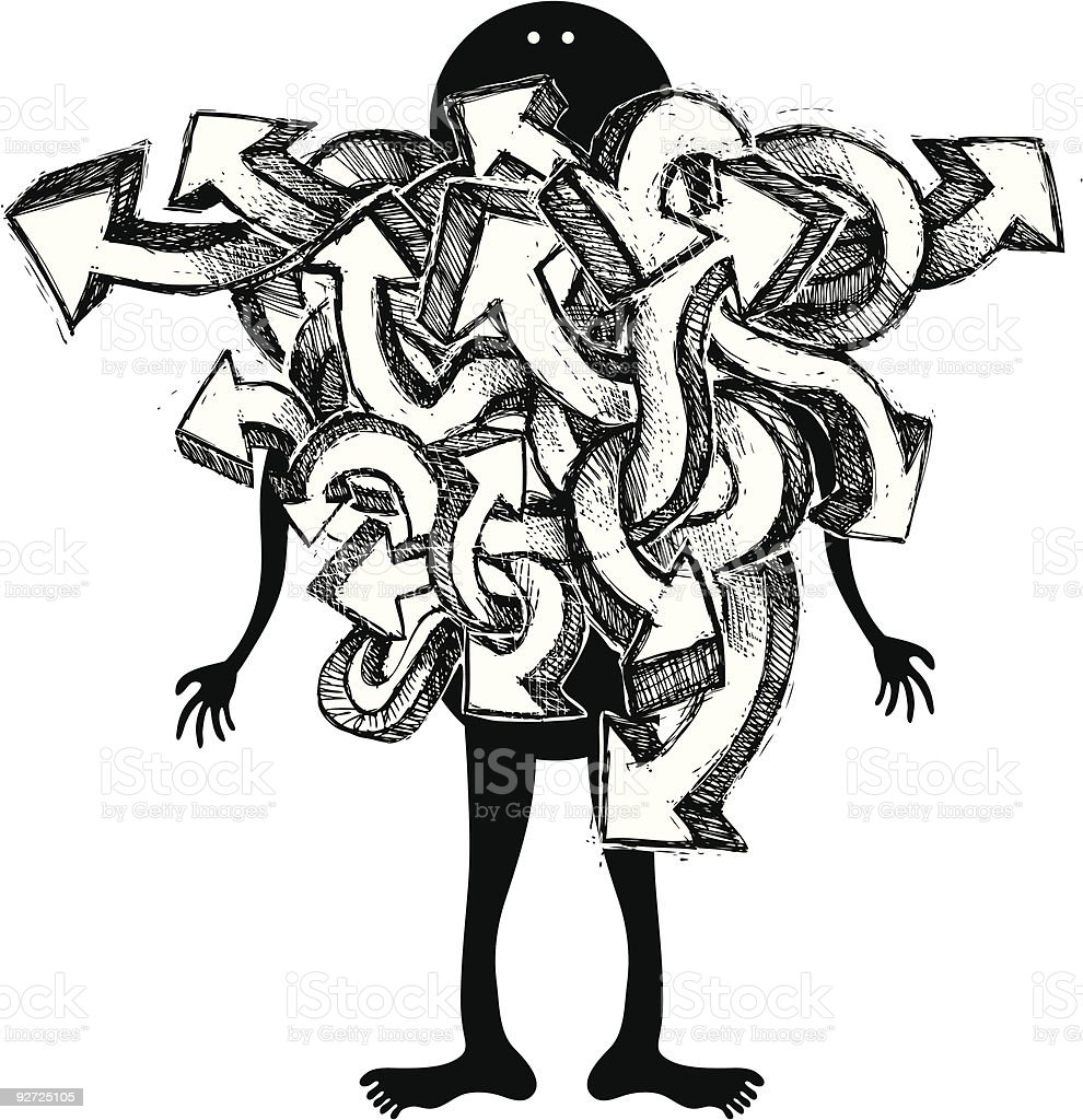 Graffiti man with white arrows in bundle royalty-free stock vector art