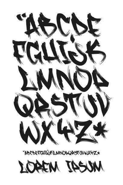 graffiti marker font - hand written - vector alphabet - graffiti fonts stock illustrations, clip art, cartoons, & icons