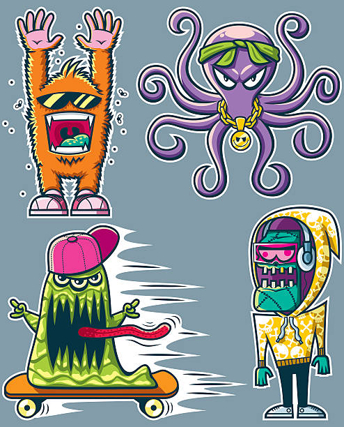 ilustrações, clipart, desenhos animados e ícones de grafite monstros - andar de skate