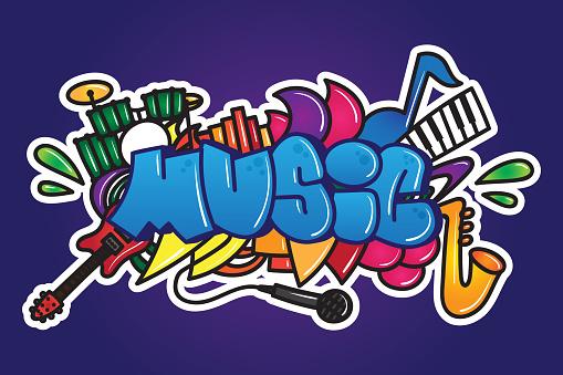 Graffiti Music Word Stock Illustration - Download Image Now - iStock