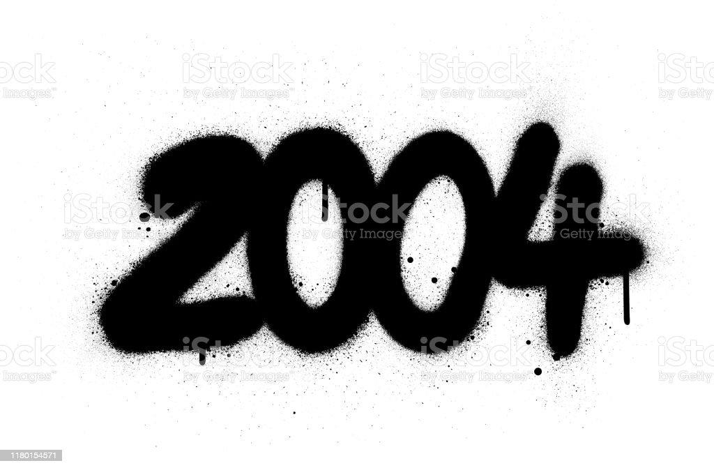 Graffiti Number 2004 Sprayed In Black Over White Stock ...