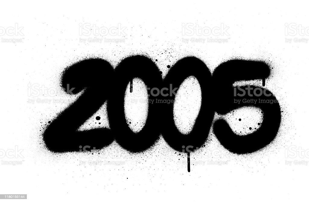 Graffiti Number 2005 Sprayed In Black Over White Stock ...