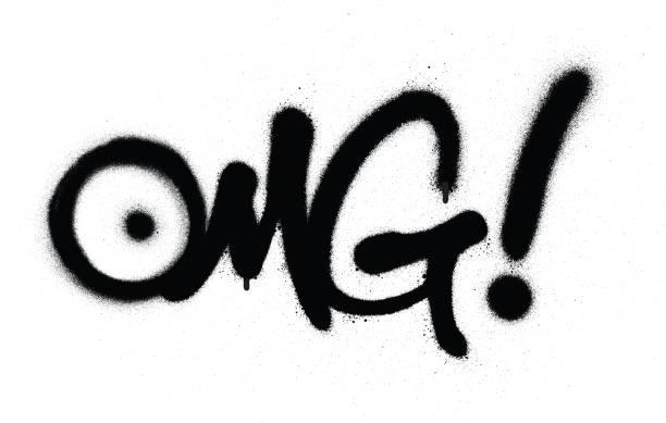 graffiti OMG chat abbreviation in black over white graffiti OMG chat abbreviation in black over white airbrush stock illustrations