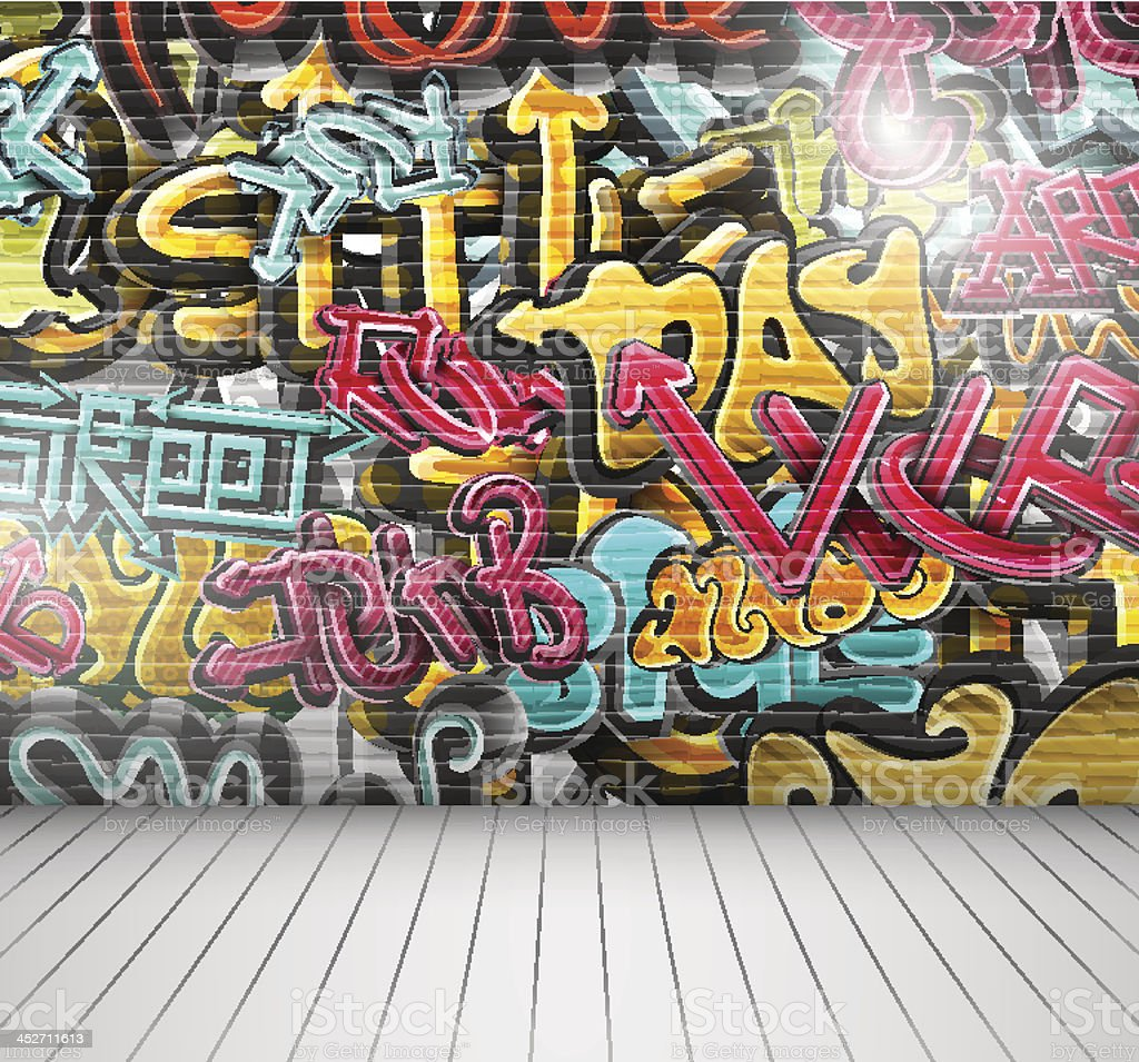 Graffiti on wall vector art illustration