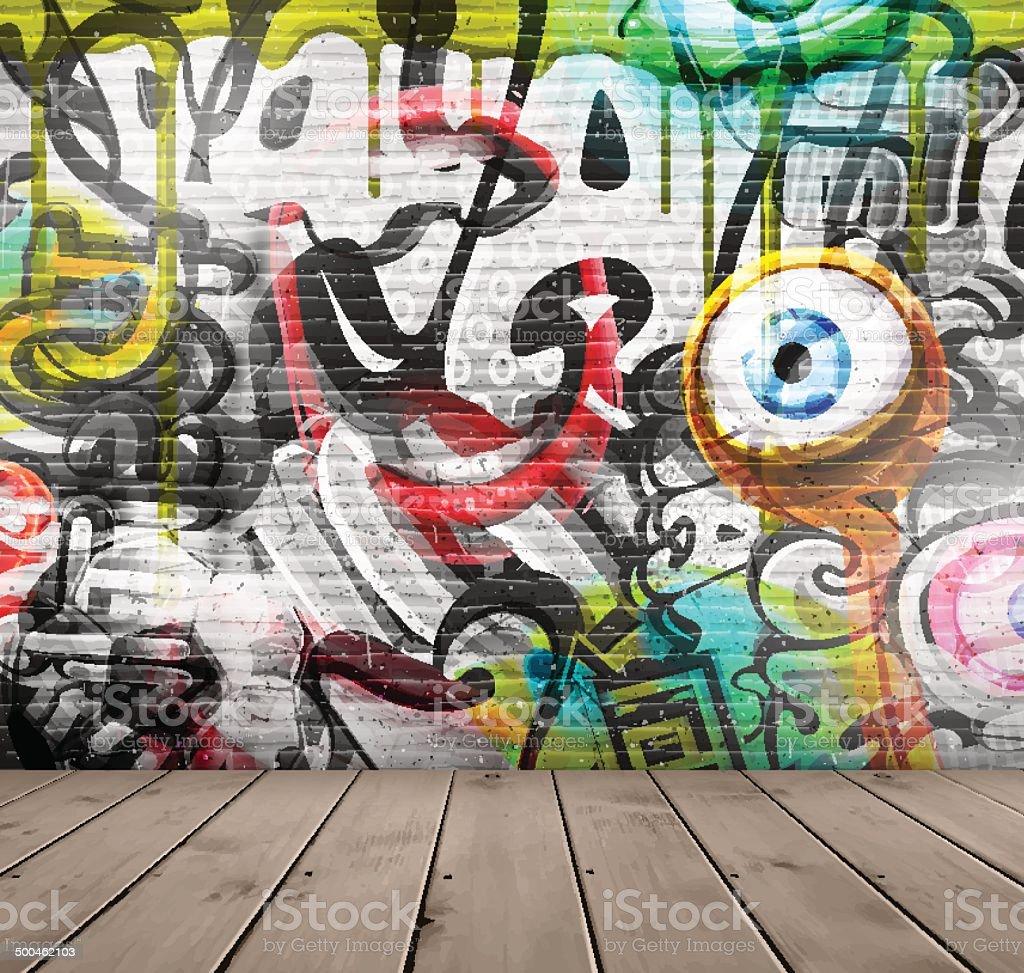 Graffiti na parede - ilustração de arte em vetor