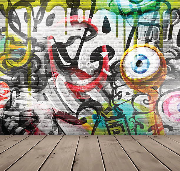 graffiti on wall - urban fashion stock illustrations, clip art, cartoons, & icons