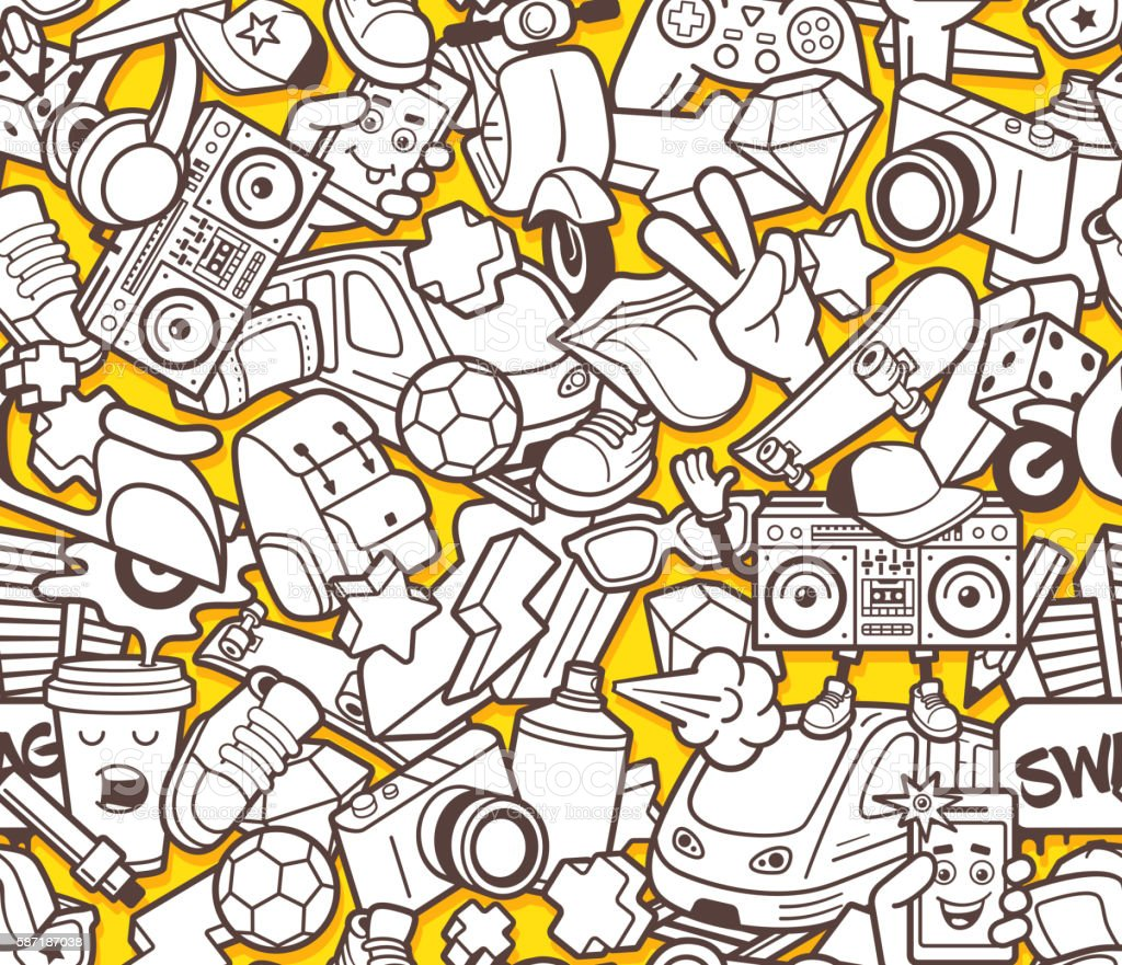 Graffiti seamless pattern for adult coloring book vector art illustration