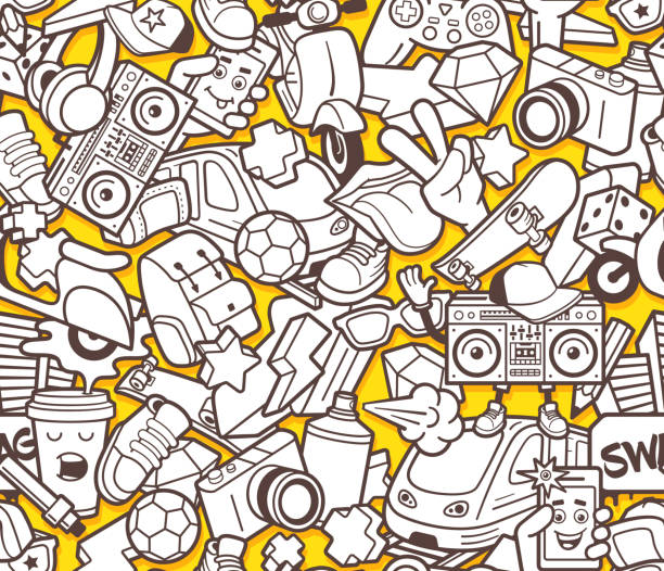 Graffiti Seamless Pattern For Adult Coloring Book Stock