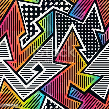 istock Graffiti seamless pattern (vector eps 10) 1208743146