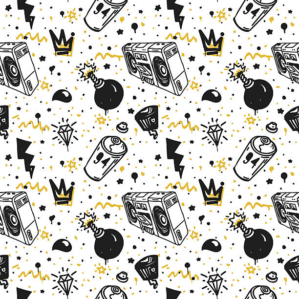 graffiti seamless pattern - urban fashion stock illustrations, clip art, cartoons, & icons
