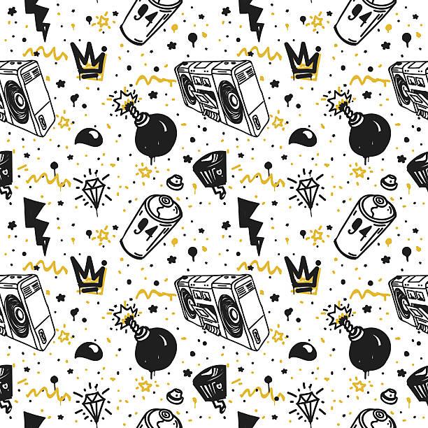 illustrations, cliparts, dessins animés et icônes de graffiti motif uniforme - hip hop