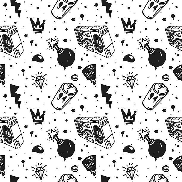 graffiti seamless pattern - diamond tattoos stock illustrations, clip art, cartoons, & icons