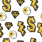 Original youth seamless patterns, repeating image for using pattern on any items, T-shirts, wallpaper, curtains. Yellow and black colors