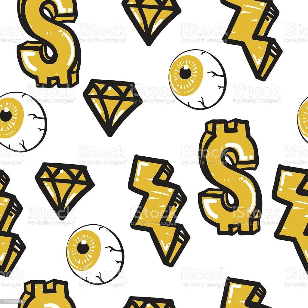 Graffiti Seamless Pattern vector art illustration