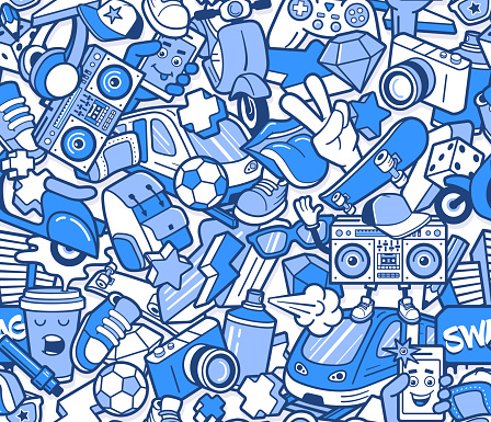 Graffiti seamless pattern with boys lifestyle elements. Crazy doodle abstract vector background. Trendy line icons collage in bizarre street art style.