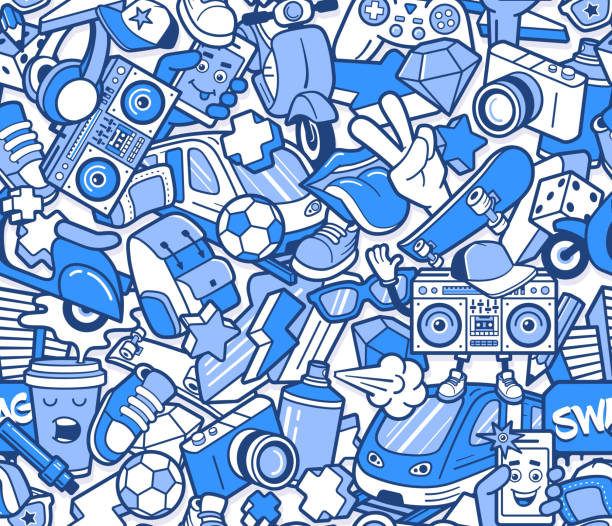 Graffiti seamless pattern with boys lifestyle elements. Crazy doodle abstract vector background. Trendy line icons collage in bizarre street art style. Graffiti seamless pattern with line icons collage street art stock illustrations
