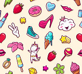 Vector background with childish girl power crazy elements. Trendy linear style collage for kids with bizarre icons.