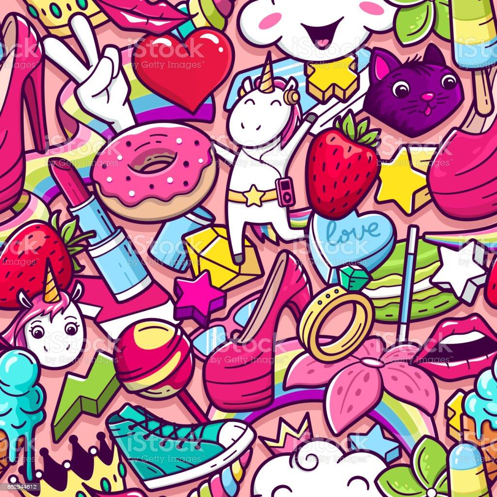 Nahtlose Muster Graffiti mit mädchenhaften Stil doodles – Vektorgrafik