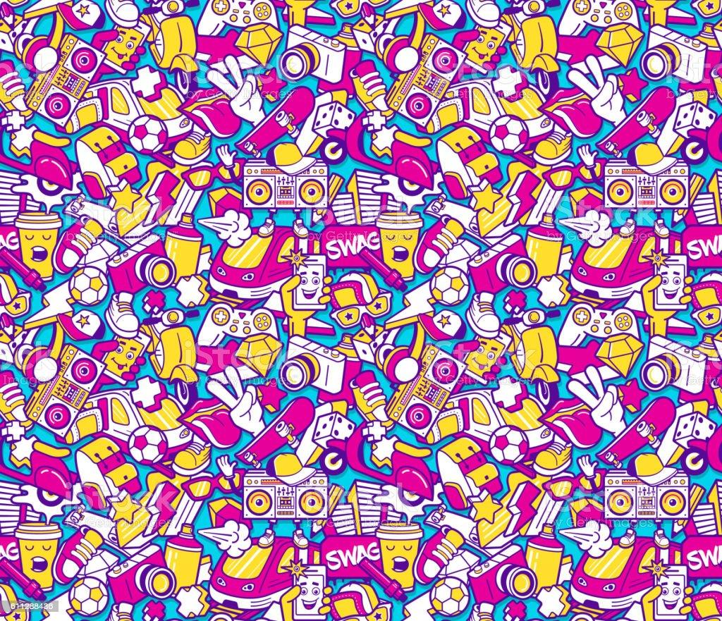 Graffiti patrón continuo con iconos de Collage - ilustración de arte vectorial