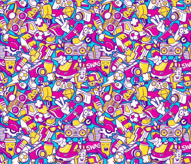 graffiti seamless pattern with line icons collage - graffiti backgrounds stock illustrations, clip art, cartoons, & icons