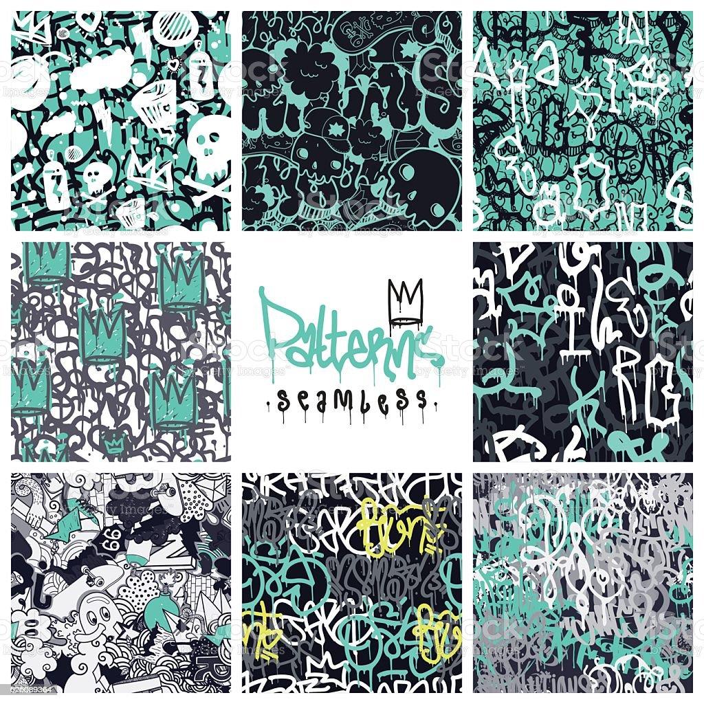 Graffiti seamless patterns set - ilustración de arte vectorial