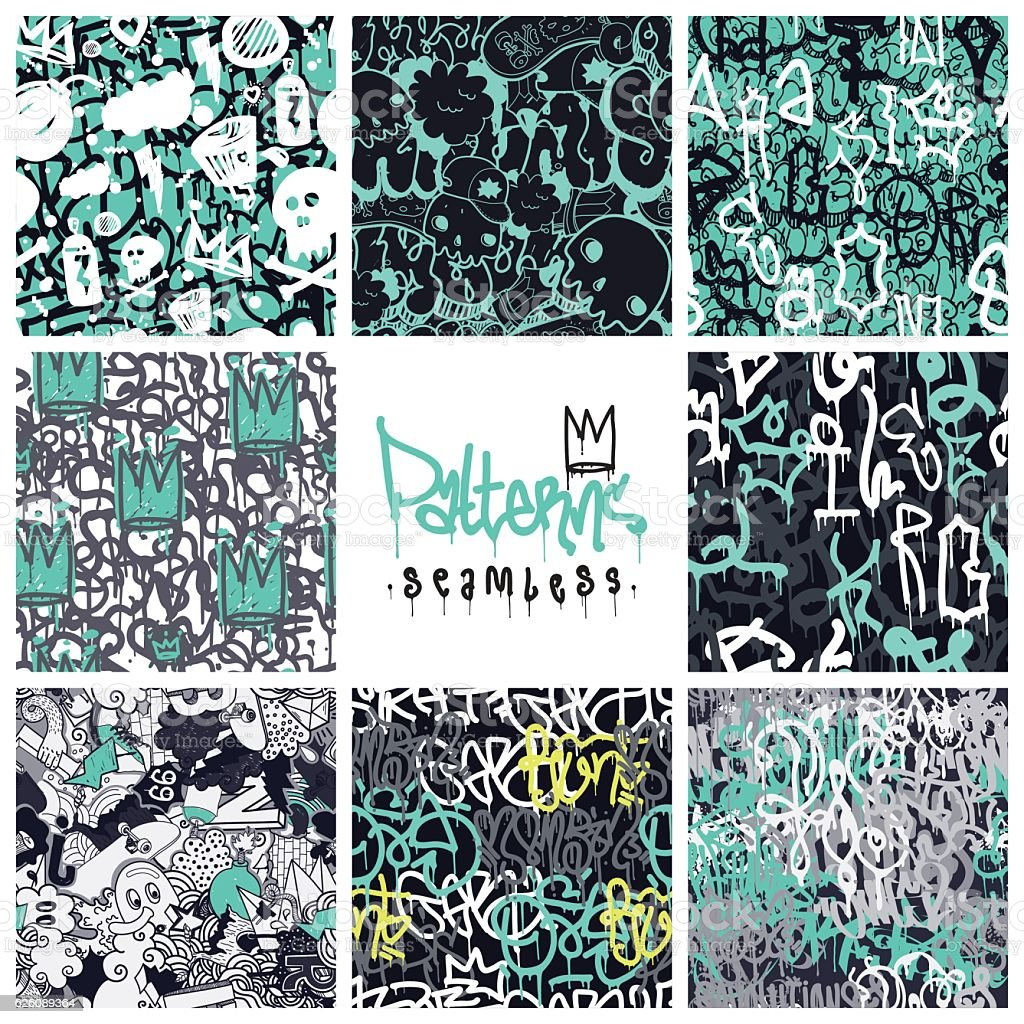 Graffiti seamless patterns set vector art illustration