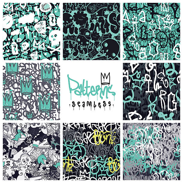 graffiti seamless patterns set - graffiti backgrounds stock illustrations, clip art, cartoons, & icons